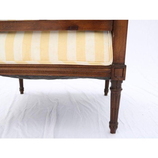 Louis XVI Style Striped Upholstery Walnut Bergère - Image 9 of 11