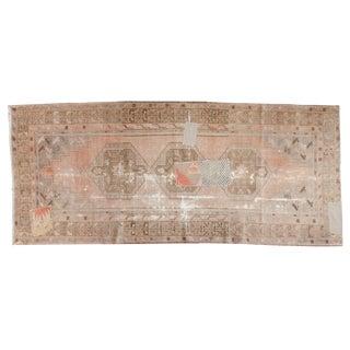"""Vintage Distressed Patchwork Oushak Rug Runner - 3'8"""" X 8'5"""" For Sale"""