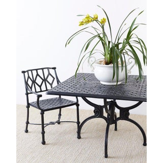 Set of Four Ebonized Cast Aluminum Garden Patio Chairs Preview