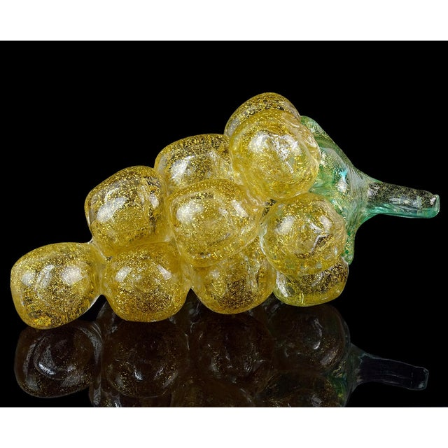 Gold Barovier Toso Murano Vintage Gold Flecks Italian Art Glass Mid Century Grapes Gourds Pepper Fruits - Set of 5 For Sale - Image 8 of 9