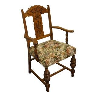 Vintage Antique Oak English Revival Gothic Jacobean Arm Chair For Sale