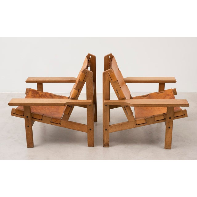 Pair of Kurt Ostervig Hunting Chairs in Oak and Leather, Denmark 1960s For Sale - Image 11 of 11