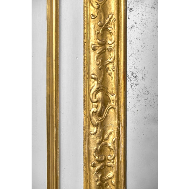 Gold 19th Century Louis XVI Gold Leaf Trumeau Mirror For Sale - Image 8 of 9