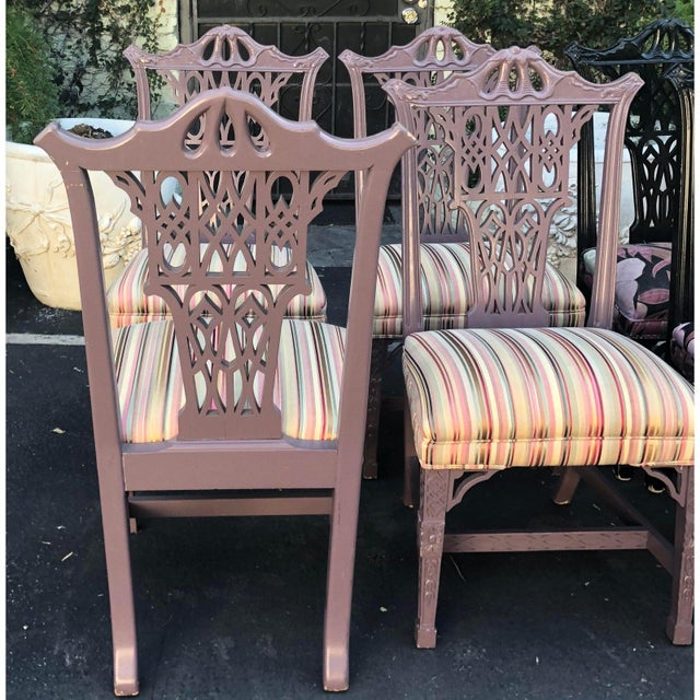 Hollywood Regency Chippendale Style Chinese Chippendale Purple Dining Chairs - Set of 4