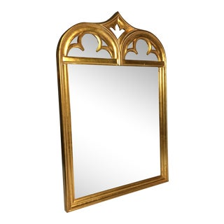 Gold Wood Sculptural Wall Mirror For Sale