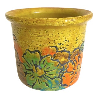 Vintage Mid Century Modern Italian Art Pottery Hand Painted Floral Ceramic Planter For Sale