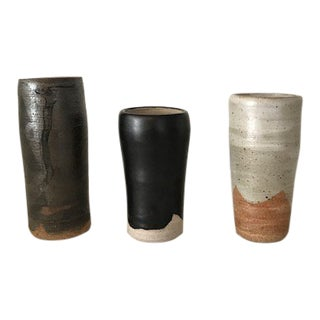 Mid Century Rustic Stoneware Bud Vases - Set of 3 For Sale