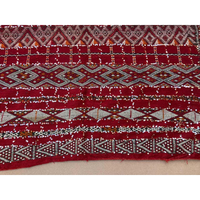 Moroccan Vintage Ethnic Textile with Sequins North Africa, Handira For Sale - Image 11 of 13