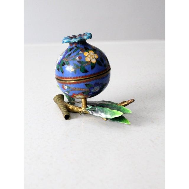Blue Antique Cloisonne Box For Sale - Image 8 of 12