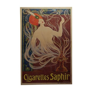 Cigarettes Saphir - Original 1900s French Art Nouveau Poster by Stephano For Sale