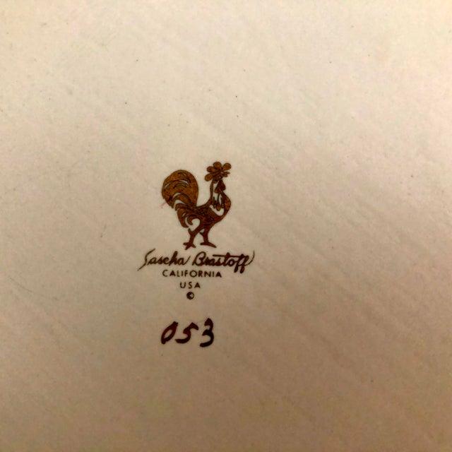 """Signed Sascha Brastoff Vintage Mid-Century 16"""" Gilded Enamel Charger For Sale - Image 9 of 11"""