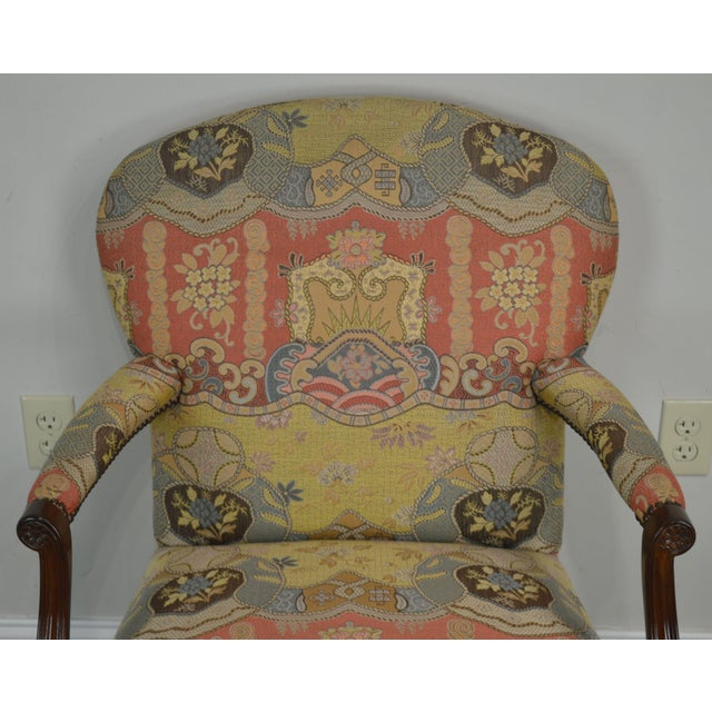 Red Smith & Watson Hepplewhite Mahogany Pair Open Armchairs For Sale - Image 8 of 13