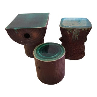 1960s Vintage Art Nouveau Ceramic Tree Trunk End Tables- Set of 3 For Sale
