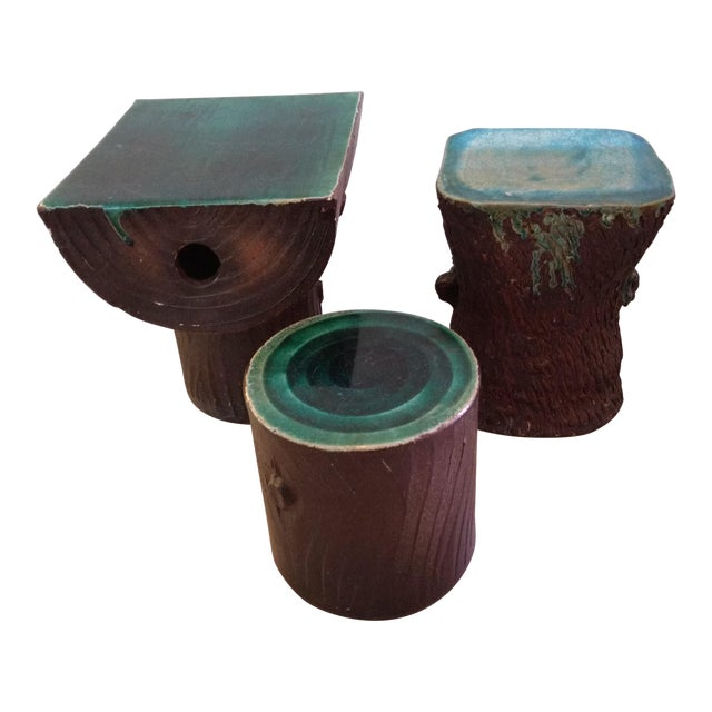 1960s Vintage Art Nouveau Ceramic Tree Trunk End Tables- Set of 3 For Sale