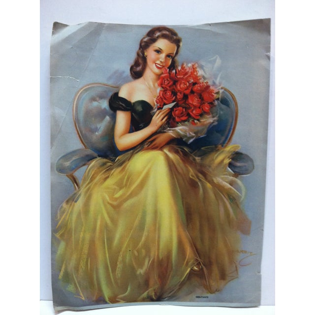 """This is a vintage color print on paper that is titled """"Debutante"""" by Kerbit. The print dates from around 1940 and is ready..."""