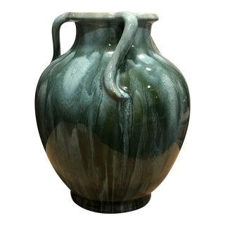 1930s Vintage Stoin M. Stoin Weller Pottery Three Handle Nile Glaze Vessel Vase For Sale