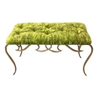 René Prou Style French Art Deco Gold Gilt Iron Bench Green Velvet Tufted Upholstery