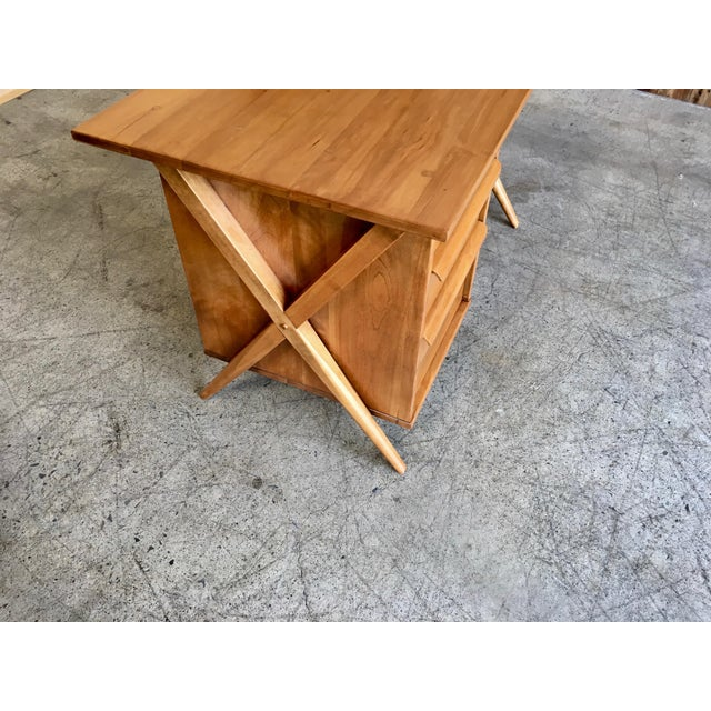 Mid 20th Century 1950's Maple X-Leg Desk With Bookcase For Sale - Image 5 of 13