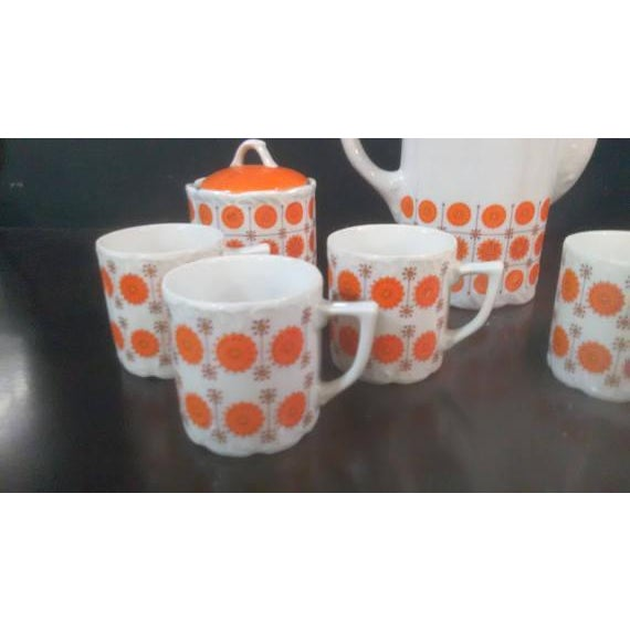 Vintage Mid-Century Japanese White & Orange Porcelain Tea Set - 9 Pc. - Image 3 of 8