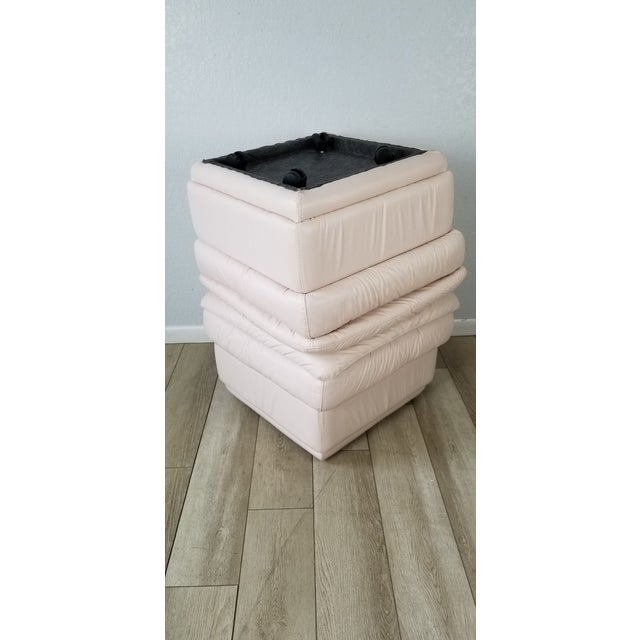 80s Italian Postmodern Style Leather Ottomans. - a Pair For Sale - Image 11 of 13