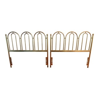 Hollywood Regency Art Deco Arched Twin Brass Headboards- a Pair For Sale