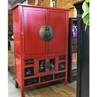 Antique Chinese Red and Black Tall Armoire Preview