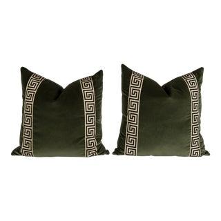 Moss Green Velvet Greek Key Pillows - a Pair