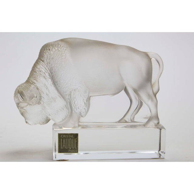 "Lalique clear and frosted glass paperweight on a clear glass plinth. 4.75"" Wide x 1.75"" Deep x 3"" High"