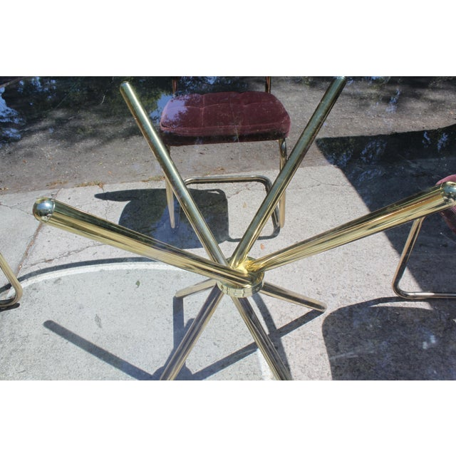 Vintage 70's Brass & Glass Table & Chairs - Image 4 of 8