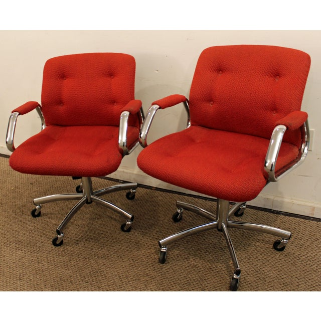 Steelcase Mid-Century Danish Modern Red Chrome Steelcase Office Chairs on Wheels - a Pair For Sale - Image 4 of 11