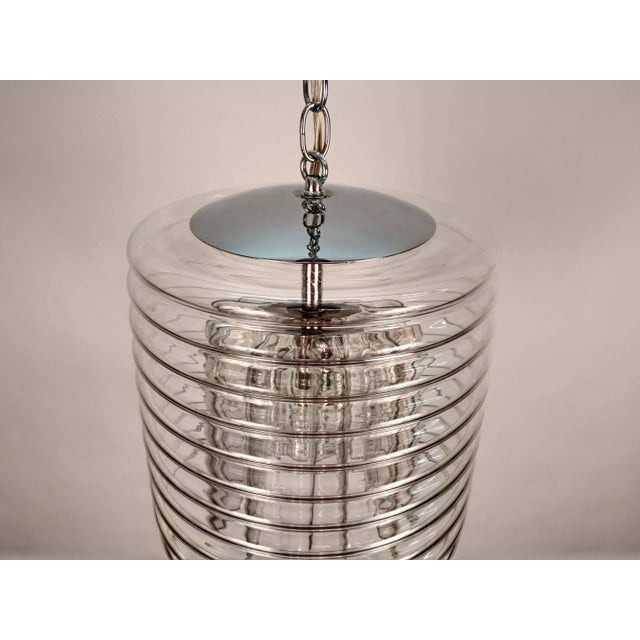 Transparent Clear Ribbed Glass Pendant For Sale - Image 8 of 9