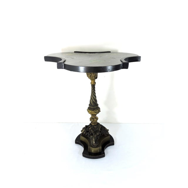 Antique Victorian Black Side Table With Brass Ormolu Column & Mother of Pearl Inlay Top For Sale - Image 4 of 9