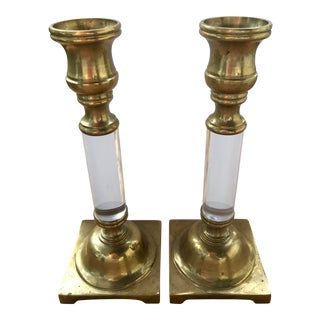 Mid-Century Hollywood Regency Brass and Lucite Candlesticks - a Pair For Sale