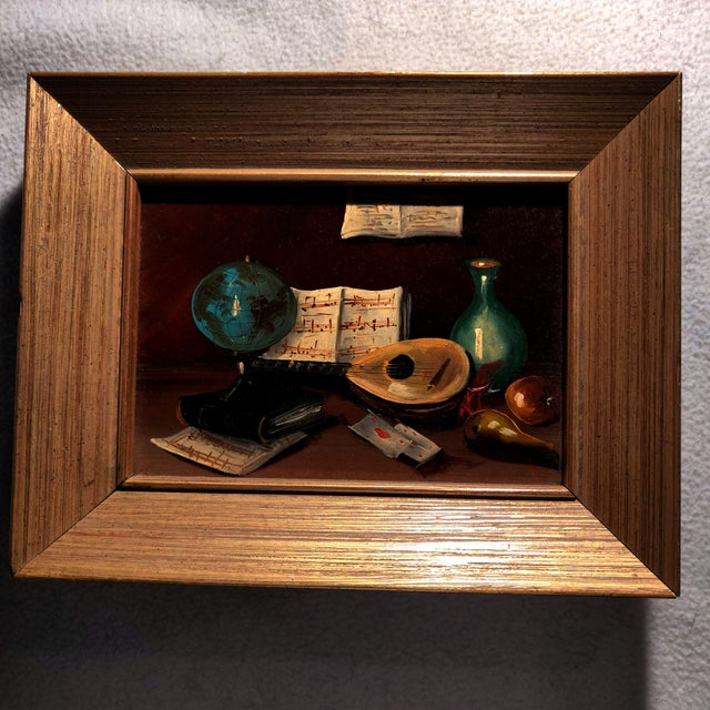 Late 20th Century 20th Century Gold Cerused Wood Framed Cryptically Composed Still Life Oil Painting on Board For Sale - Image 5 of 13