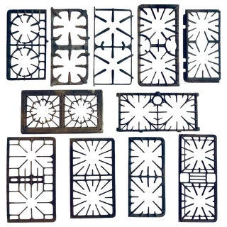 Collection of 11 Rare Antique Cast Iron Stove Grates, Circa 1920-1950 For Sale