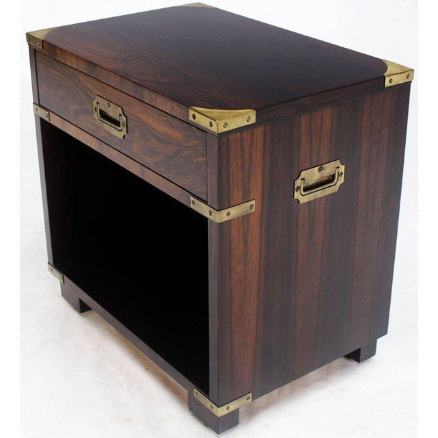Campaign Rosewood Brass Campaign End Table Nighstand Cabinet John Stuart For Sale - Image 3 of 8