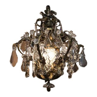 French Six Arm Chandelier With Crystal Grape Cluster For Sale