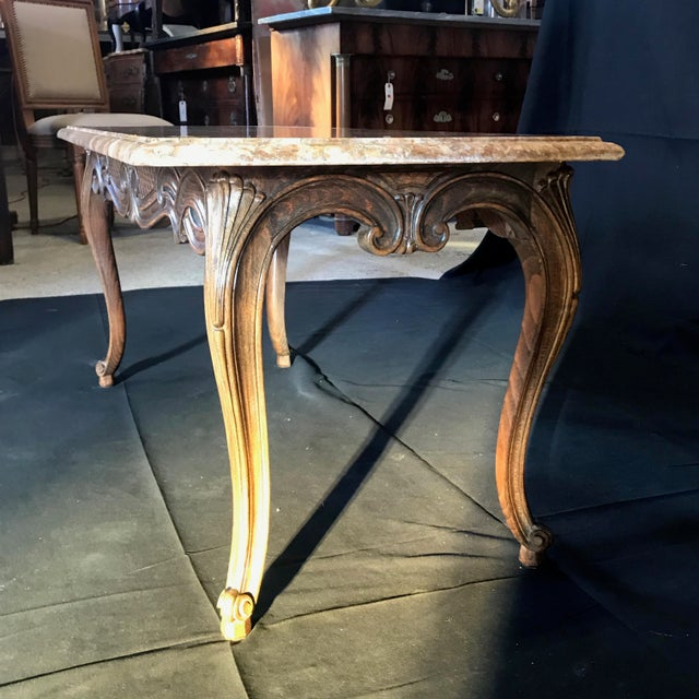 Louis XV Style Carved French Coffee Table With Marble Top For Sale - Image 4 of 9