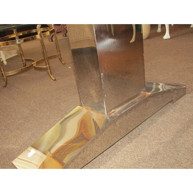 Raw Wood Block & Chrome Pedestal Dining Table For Sale In West Palm - Image 6 of 8