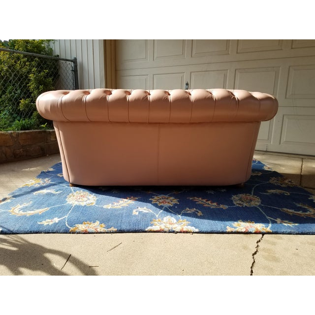 Vintage Mid Century English Chesterfield Leather Sofa For Sale In Dallas - Image 6 of 13