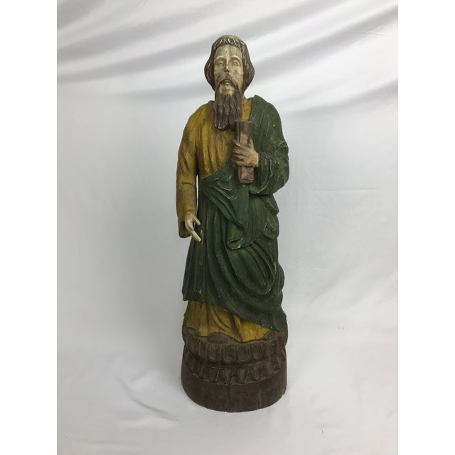 Wood Rustic Primitive Philippine Santos Figure of a Saint For Sale - Image 7 of 7