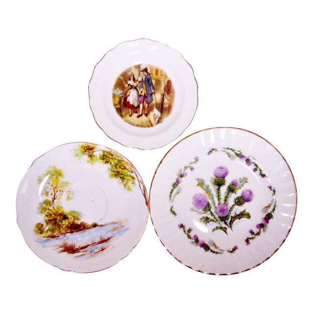 Staffordshire Bone China Plates, England - Set of 3 For Sale