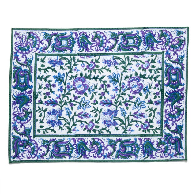 Contemporary Aria Placemats Lavender & Blue - A Pair For Sale - Image 3 of 4
