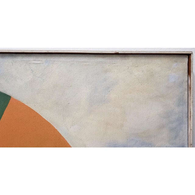 Blue Large Scale Vintage Mid Modern Oil Painting by Larsen C.1940s For Sale - Image 8 of 13