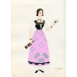 1930s, French Provincial Costumes - Angoumois, Original Porchir Print For Sale
