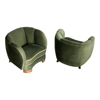 Pair of 1940s Danish Low Club or Lounge Chairs in the Style of Lassen or Boesen For Sale