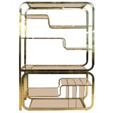 Image of 1970s Mid-Century Modern Milo Baughman Extendable Brass and Glass Étagère - 2 Piece For Sale