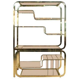1970s Mid-Century Modern Milo Baughman Extendable Brass and Glass Étagère - 2 Piece For Sale