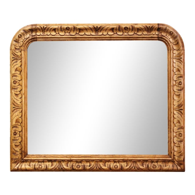19th Century French Louis XIII Carved Bleached Oak Wall Mirror For Sale