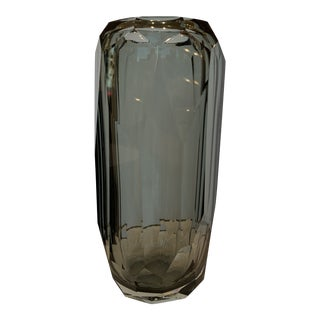 21st Century Gray Murano for Mogul Exclusive Diamond Faceted Crystal Cylinder Vase by Alberto Dona (Xl) For Sale